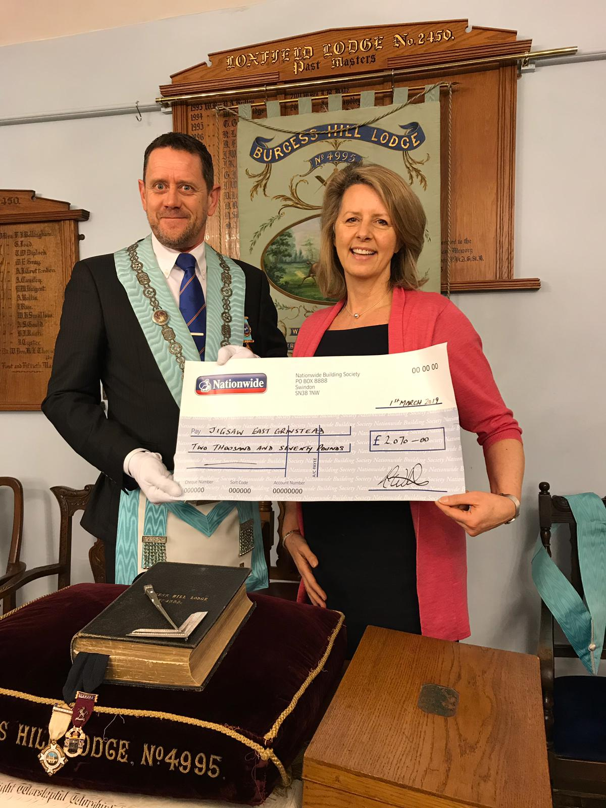 Burgess Hill Masons Lodge Their Support For Jigsaw