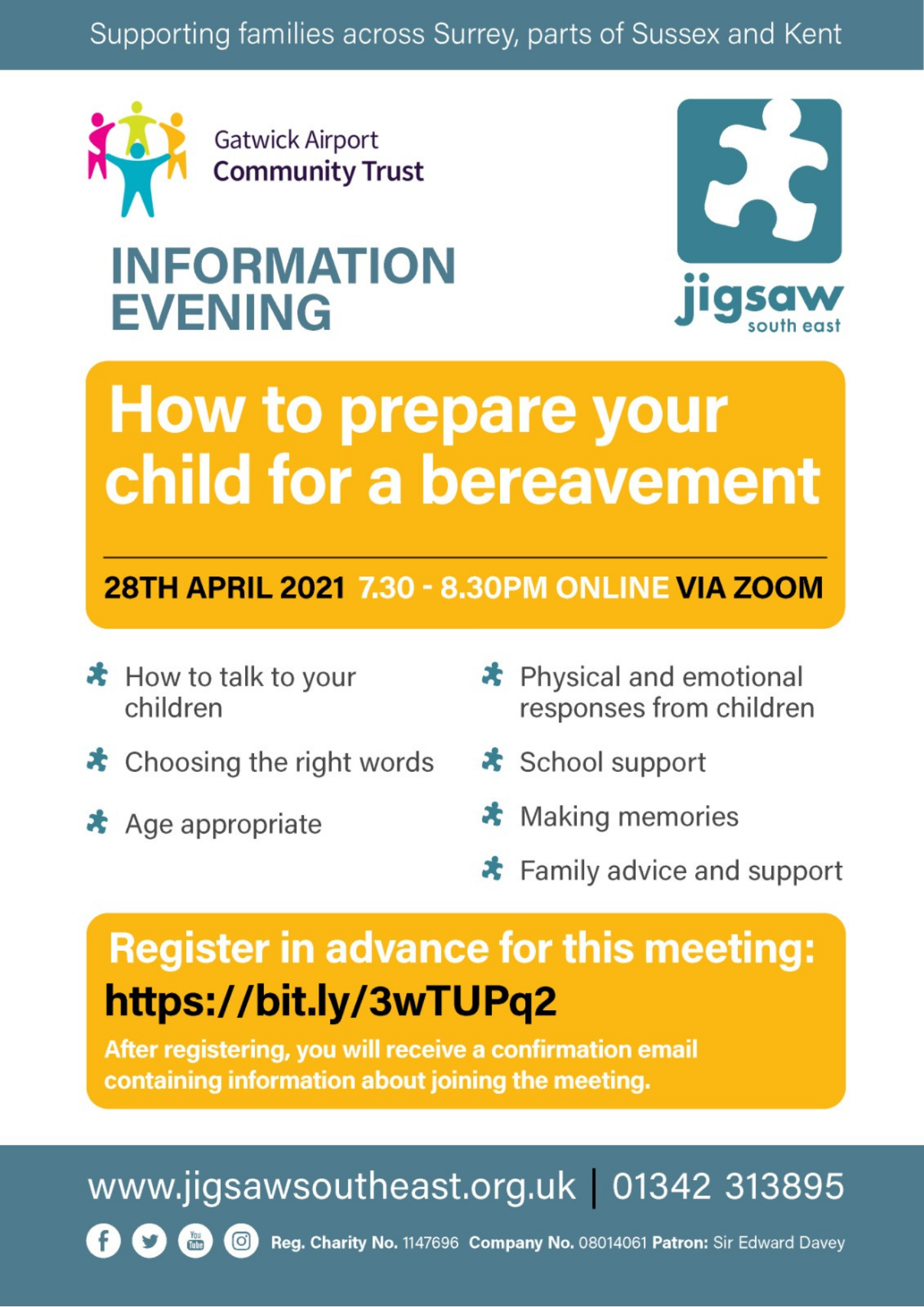 How To Prepare Your Child For A Bereavement – Information Evening – 28th April 2021
