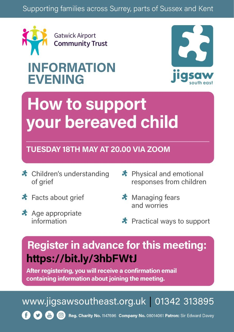 'How To Support Your Bereaved Child' – Online Information Evening – 18th May 2021